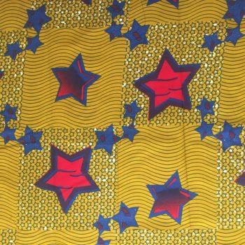 Olive green and ankara stars fabric